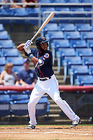 Binghamton Mets shortstop Amed Rosario (1) at bat during a game against the Richmond Flying Squirrels on June 26, 2016 at NYSEG Stadium in Binghamton, New York.  Binghamton defeated Richmond 7-2.  (Mike Janes/Four Seam Images)