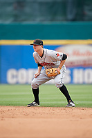 Indianapolis Indians second baseman Erich Weiss (6) during a game against the Buffalo Bisons on August 17, 2017 at Coca-Cola Field in Buffalo, New York.  Buffalo defeated Indianapolis 4-1.  (Mike Janes/Four Seam Images)