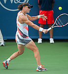 Samantha Stosur battles to three sets in her first match at the Western and Southern Financial Group Masters Series in Cincinnati on August 12, 2012