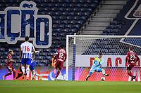 30th April 2021; Dragao Stadium, Porto, Portugal; Portuguese Championship 2020/2021, FC Porto versus Famalicao; Goalie Luiz Júnior of Famalicão cannot stop the shot on goal from Toni Martinez of FC Porto in the 8th minute for 1-0