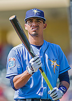 14 March 2016: Tampa Bay Rays outfielder Jose Paez awaits his turn in the batting cage prior to a pre-season Spring Training game against the Atlanta Braves at Champion Stadium in the ESPN Wide World of Sports Complex in Kissimmee, Florida. The Ray fell to the Braves 5-0 in Grapefruit League play. Mandatory Credit: Ed Wolfstein Photo *** RAW (NEF) Image File Available ***