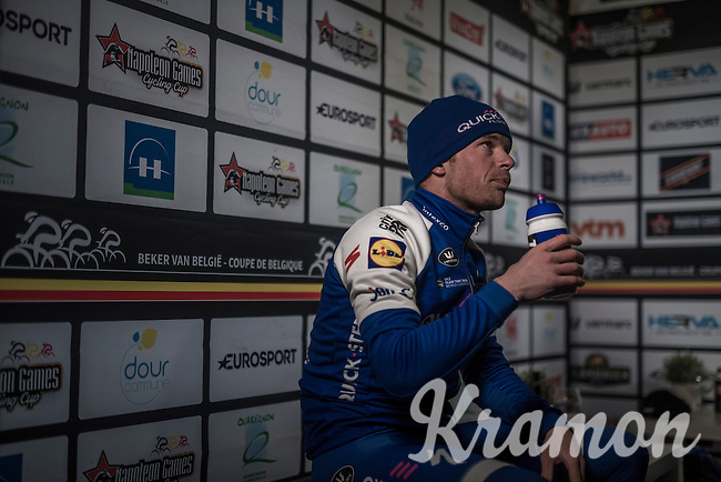 3rd place finisher Iljo Keisse (BEL/QuickStep Floors) ready for the for the post-race podium ceremony<br /> <br /> GP Le Samyn 2017 (1.1)