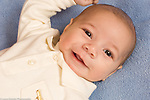 newborn baby boy portrait closeup 7 weeks old horizontal