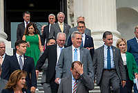 United States House Minority Leader Kevin McCarthy (Republican of California) arrives with members of Congress for a press conference on President Joe Biden and House Speaker Nancy Pelosi's leadership, outside of the US Capitol in Washington, DC, Thursday, July 29, 2021. Credit: Rod Lamkey / CNP / MediaPunch