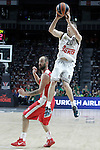 Real Madrid's Jaycee Carroll (r) and Olympiacos Piraeus' Vassilis Spanoulis during Euroleague Final Match. May 15,2015. (ALTERPHOTOS/Acero)