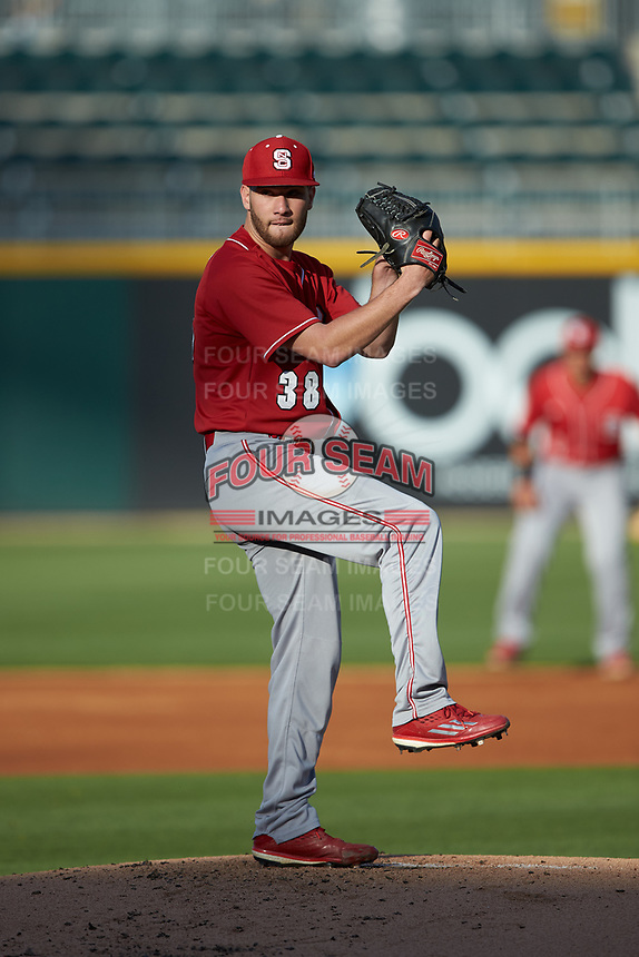 North Carolina State Wolfpack starting pitcher Brian Brown (38) in action against the Charlotte 49ers at BB&T Ballpark on March 29, 2016 in Charlotte, North Carolina. The Wolfpack defeated the 49ers 7-1.  (Brian Westerholt/Four Seam Images)