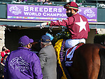November 6, 2020: Irad Ortiz, Jr., riding Golden Pal, celebrates winning the Juvenile Turf Sprint on Breeders' Cup Championship Friday at Keeneland on November 6, 2020: in Lexington, Kentucky. Candice Chavez/Breeders Cup/Eclipse Sportswire/CSM