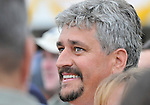 09 May 16: Trainer Steve Asmussen smiles as he watches a replay on the video board of Calvin Borel riding filly Rachel Alexandra to victory in the 134th running of the grade 1 Preakness Stakes for three year olds at Pimlico Race Track in Baltimore, Maryland.
