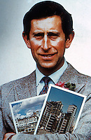 London: HRH Prince Charles. Richmond Riverside and Lloyd's Cover Montage, Max Hutchinson.  Reference only.