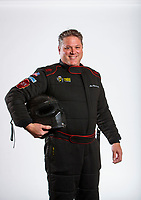 Feb 5, 2020; Pomona, CA, USA; NHRA funny car driver Alex Miladinovich poses for a portrait during NHRA Media Day at the Pomona Fairplex. Mandatory Credit: Mark J. Rebilas-USA TODAY Sports