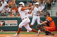 Texas Longhorns shortstop CJ Hinojosa #9 follows through on his swing during the NCAA baseball game against the Oklahoma State Cowboys on April 26, 2014 at UFCU Disch–Falk Field in Austin, Texas. The Cowboys defeated the Longhorns 2-1. (Andrew Woolley/Four Seam Images)