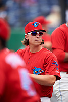 Clearwater Threshers Jeff Singer (24) in the dugout during a game against the Palm Beach Cardinals on April 15, 2017 at Spectrum Field in Clearwater, Florida.  Clearwater defeated Palm Beach 2-1.  (Mike Janes/Four Seam Images)