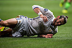 Gareth Bale of Real Madrid lies in pain on the ground during their 2016-17 UEFA Champions League match between Real Madrid vs Sporting Portugal at the Santiago Bernabeu Stadium on 14 September 2016 in Madrid, Spain. Photo by Diego Gonzalez Souto / Power Sport Images