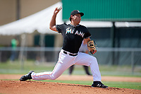 GCL Marlins relief pitcher Zack Leban (41) delivers a pitch during a game against the GCL Cardinals on August 4, 2018 at Roger Dean Chevrolet Stadium in Jupiter, Florida.  GCL Marlins defeated GCL Cardinals 6-3.  (Mike Janes/Four Seam Images)