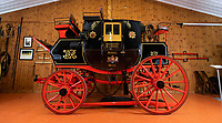 BNPS.co.uk (01202 558833)<br /> Pic: PhilYeomans/BNPS<br /> <br /> Last Post - Britain's last Royal Mail carriage, that bizarrely once survived an attack by a lion outside Salisbury, has been saved for the nation.<br /> <br /> The 200-year-old horse-drawn carriage harks back to the golden age of the Royal Mail when crowds gathered along the route to see the lightning-quick service thunder by.<br /> <br /> The restored four horse coach was known as 'Quicksilver' as it was the fastest in the land on its regular 21 hour run from Devonport, Devon, to London.<br /> <br /> But the red and black wooden wagon went down in history for an extraordinary incident involving a lion in the English countryside in 1816.