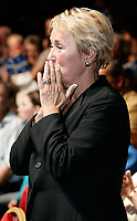 Quebec City, June 27 2007. Pauline Marois reacts as she is crowned the new PQ leader during a rally at the ThÈatre du Capitole in Quebec City June 27, 2007.<br /> <br /> PHOTO :  Francis Vachon - Agence Quebec Presse