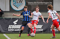 Isabelle Iliano (18) of Club Brugge pictured fighting for the ball with Anne-Lore Scherrens (22) of Zulte-Waregem during a female soccer game between SV Zulte - Waregem and Club Brugge YLA on the 13 th matchday of the 2020 - 2021 season of Belgian Scooore Womens Super League , saturday 6 th of February 2021  in Zulte , Belgium . PHOTO SPORTPIX.BE   SPP   DIRK VUYLSTEKE