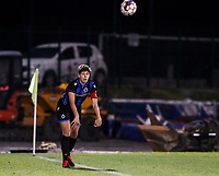 Isabelle Iliano (18) of Club Brugge does a throw in during a female soccer game between FC Femina White Star Woluwe and Club Brugge YLA on the eleventh matchday of the 2020 - 2021 season of Belgian Scooore Womens Super League , Friday 22 January 2021  in Woluwe , Belgium . PHOTO SPORTPIX.BE   SPP   SEVIL OKTEM