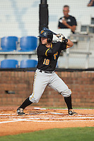 Erik Lunde (18) of the Bristol Pirates at bat against the Johnson City Cardinals at Howard Johnson Field at Cardinal Park on July 6, 2015 in Johnson City, Tennessee.  The Pirates defeated the Cardinals 2-0 in game one of a double-header. (Brian Westerholt/Four Seam Images)