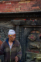 Old man resting in Bhaktapur Temples and Palace, Nepal,