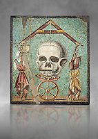"""Roman mosaic of a skull called """"Mimento Mori"""" from Pompeii, inv 100982, Naples National Archeological Museum, Grey  background"""