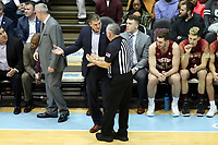 CHAPEL HILL, NC - FEBRUARY 1: Head coach Jim Christian of Boston College argues with official Jim Christie during a game between Boston College and North Carolina at Dean E. Smith Center on February 1, 2020 in Chapel Hill, North Carolina.
