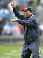 State College, PA - 09/12/2015:  Penn State head coach James Franklin smiles after his team scored a touchdown. Penn State defeated Buffalo by a score of 27-14 at rainy Beaver Stadium in University Park, PA.<br /> <br /> Photos by Joe Rokita / JoeRokita.com