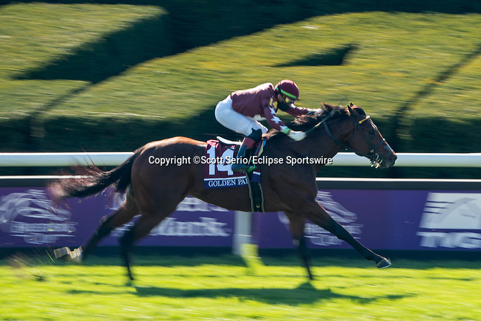 November 6, 2020: Golden Pal, ridden by Irad Ortiz, Jr., wins the Juvenile Turf Sprint on Breeders' Cup Championship Friday at Keeneland on November 6, 2020: in Lexington, Kentucky. Scott Serio/Eclipse Sportswire/Breeders Cup/CSM