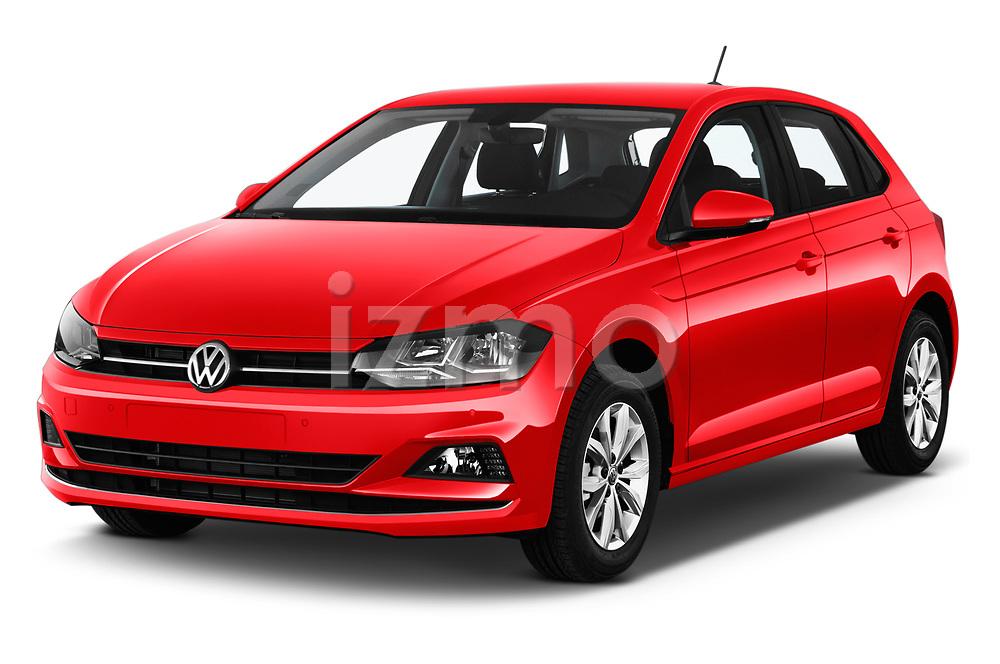 2018 Volkswagen Polo High Line 5 Door Hatchback angular front stock photos of front three quarter view