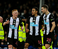 Newcastle United's Isaac Hayden celebrates with Matthew Longstaff and Florian Lejeune <br /> <br /> Photographer Alex Dodd/CameraSport<br /> <br /> The Premier League - Everton v Newcastle United  - Tuesday 21st January 2020 - Goodison Park - Liverpool<br /> <br /> World Copyright © 2020 CameraSport. All rights reserved. 43 Linden Ave. Countesthorpe. Leicester. England. LE8 5PG - Tel: +44 (0) 116 277 4147 - admin@camerasport.com - www.camerasport.com