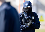 St Johnstone Training….15.03.19<br />Danny Swanson pictured all wrapped up against the cold during training this morning at McDiarmid Park ahead of tomorrow's game against St Mirren.<br />Copyright Perthshire Picture Agency<br />Tel: 01738 623350  Mobile: 07990 594431
