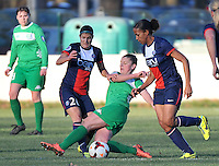 20131211 - HENIN-BEAUMONT , France :  Henin's Marie-Charlotte Leger (middle) pictured in a duel with PSG's Marie-Laure Delie (right) and PSG's Caroline Pizzala (left) during the female soccer match between FC Henin Beaumont and Paris Saint-Germain Feminin , of the Ninth matchday in the French First Female Division . Wednesday 11 December 2013. PHOTO DAVID CATRY