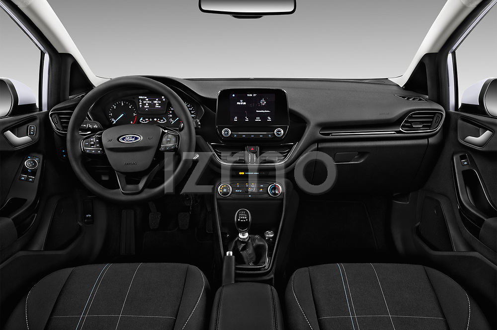 Stock photo of straight dashboard view of 2017 Ford Fiesta Business-Class 5 Door Hatchback Dashboard