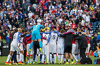 Seattle, WA - Thursday, June 16, 2016: United States Mens National Team celebrate the win after the Quarterfinal of the 2016 Copa America Centenrio at CenturyLink Field.