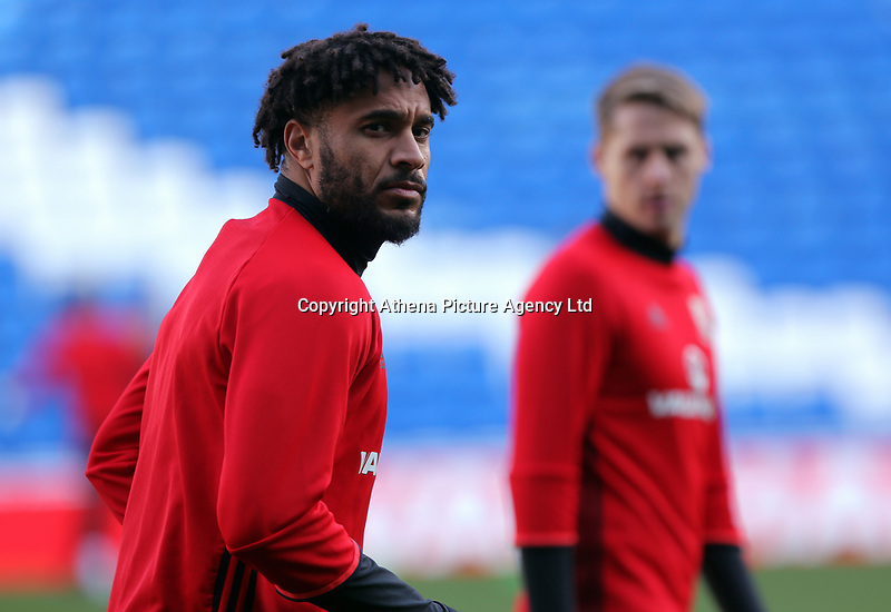 Ashley Williams in action during the Wales Press Conference and Training Session at The Cardiff City Stadium, Wales, UK. Monday 13 November 2017