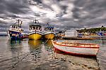 Fishing boats at Calbuco Harbor, Chile, Patagonia, South America