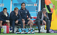 England manager Roy Hodgson dejected on the bench