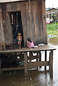 Altamira, Brazil. Frontier town on the Xingu river. Poor district with stilt houses.