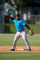 Miami Marlins Justin Twine (14) during a Minor League Spring Training Intrasquad game on March 28, 2019 at the Roger Dean Stadium Complex in Jupiter, Florida.  (Mike Janes/Four Seam Images)