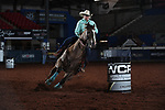 Becky Pearson during the second round of barrel qualifiers at the WCRA Stampede at the E. Photo by Andy Watson