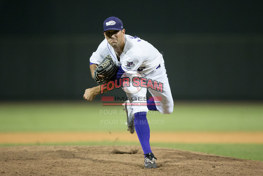 Winston-Salem Dash relief pitcher Louie Lechich (21) follows through on his delivery against the Potomac Nationals at BB&T Ballpark on August 5, 2017 in Winston-Salem, North Carolina.  The Dash defeated the Nationals 6-0.  (Brian Westerholt/Four Seam Images)