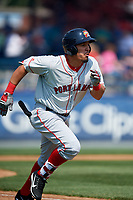 Portland Sea Dogs right fielder Luke Tendler (10) runs to first base during the first game of a doubleheader against the Reading Fightin Phils on May 15, 2018 at FirstEnergy Stadium in Reading, Pennsylvania.  Portland defeated Reading 8-4.  (Mike Janes/Four Seam Images)