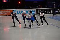 SPEEDSKATING: DORDRECHT: 05-03-2021, ISU World Short Track Speedskating Championships, Heats 1000m Ladies, Kristen Santos (USA), Tifany Huot Marchand (FRA), Petra Vankova (CZE), Tineke den Dulk (BEL), Nicole Mazur (POL), ©photo Martin de Jong