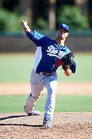 Los Angeles Dodgers minor league pitcher James Campbell #50 during an instructional league game against the Chicago White Sox at the Camelback Training Complex on October 9, 2012 in Glendale, Arizona. (Mike Janes/Four Seam Images)