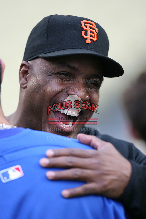 Barry Bonds of the San Francisco Giants during batting practice before a game from the 2007 season at Dodger Stadium in Los Angeles, California. (Larry Goren/Four Seam Images)