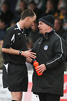 Billericay Town manager Craig Edwards speaks with referee Yeo - AFC Hornchurch vs Billericay Town - Ryman League Premier Division Football at The Stadium, Upminster Bridge, Essex - 09/04/12 - MANDATORY CREDIT: Gavin Ellis/TGSPHOTO - Self billing applies where appropriate - 0845 094 6026 - contact@tgsphoto.co.uk - NO UNPAID USE