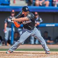 7 March 2016: Miami Marlins outfielder Brady Shoemaker in action during a Spring Training pre-season game against the Washington Nationals at Space Coast Stadium in Viera, Florida. The Nationals defeated the Marlins 7-4 in Grapefruit League play. Mandatory Credit: Ed Wolfstein Photo *** RAW (NEF) Image File Available ***