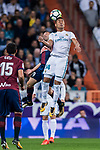 Carlos Henrique Casemiro of Real Madrid heads the ball during the La Liga 2017-18 match between Real Madrid and SD Eibar at Estadio Santiago Bernabeu on 22 October 2017 in Madrid, Spain. Photo by Diego Gonzalez / Power Sport Images