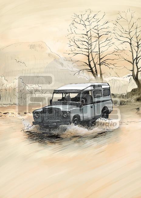 Illustrative image of SUV splashing through a river