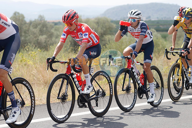 Race leader Red Jersey Kenny Elissonde (FRA) Trek-Segafredo during Stage 6 of La Vuelta d'Espana 2021, running 158.3km from Requena to Alto de la Montaña Cullera, Spain. 19th August 2021.    <br /> Picture: Luis Angel Gomez/Photogomezsport | Cyclefile<br /> <br /> All photos usage must carry mandatory copyright credit (© Cyclefile | Luis Angel Gomez/Photogomezsport)